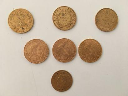 6 x 20 FRANCS OR :  - 1 x Louis XVIII, buste...