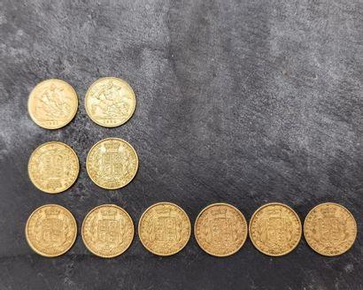 LOT de souverains d'or 917 mm (916,6 mm)...