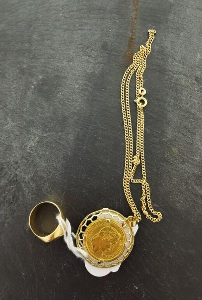 Lot d'or 750 mm comprenant une BAGUE chevalière...