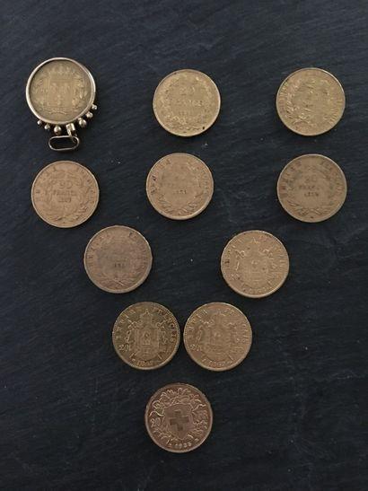 10 x 20F en OR :  - 1818, W, Louis Philippe...