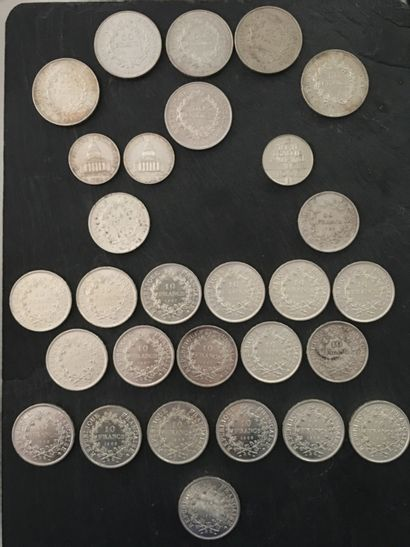 PIECES FRANCAISES en ARGENT :  - 3 x 100F...
