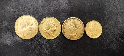Ensemble de pièces d'or 900 mm  - une pièce de 50 FF, 1857 A, Tête nue, 16,06 g...