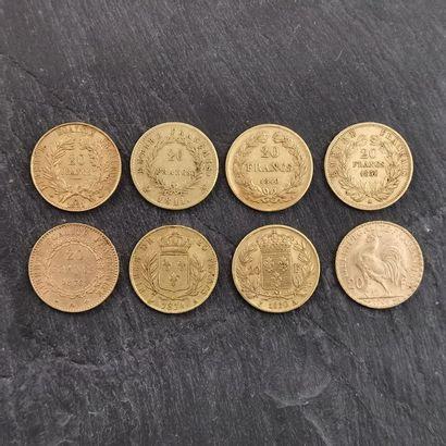 LOT de huit pièces de 20 F en or 900 mm :...