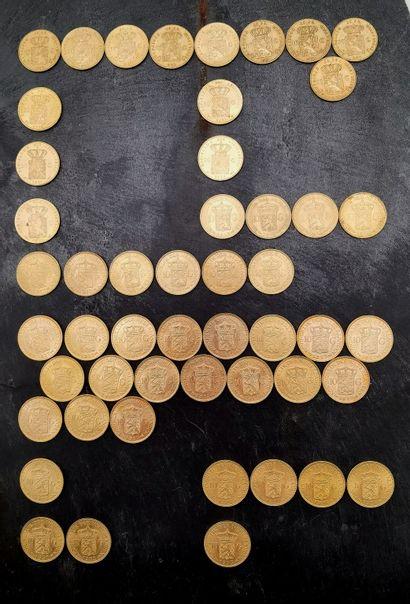 Ensemble de 50 pièces de 10 Florins en or...