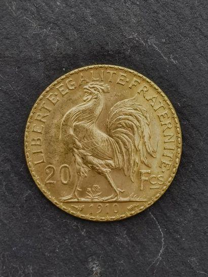 20 francs or 900 mm 1910, pesant 6,45 g.