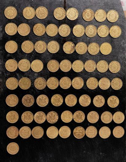 70 pièces 20 francs de 1849 à 1898 en or...