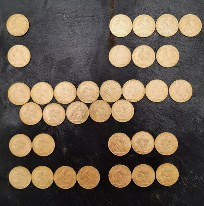 Ensemble de 34 pièces de 20 francs au coq,...
