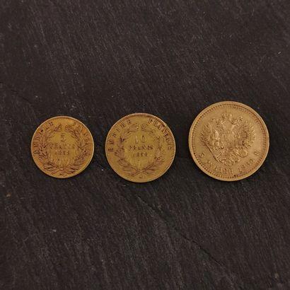 LOT de pièces d'or :  - 5 roubles 1886, 6,445...