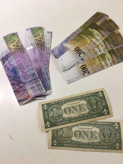LOT de BILLETS :  - ETATS-UNIS : 2 x 1 DOLLAR  - SUISSE : 4 x 1000 F SUISSES, 3...