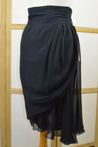 CHANEL  Jupe de soirée en soie noire avec...