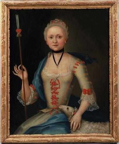 École FRANÇAISE vers 1740.  Portrait de dame...