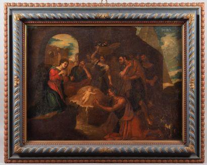 École ITALIENNE vers 1700.  Adoration des...