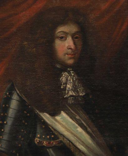 École FRANÇAISE vers 1690.  Portrait d'homme...