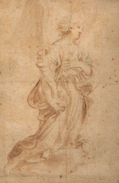 École FLAMANDE vers 1600.  Figure ailée allégorique...