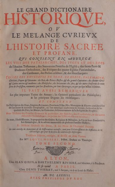 *MORERI (Louis) Le grand dictionnaire historique...
