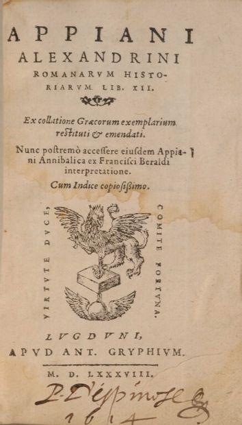 [Livre du XVIe siècle]. APPIEN. Appiani Alexandrini...