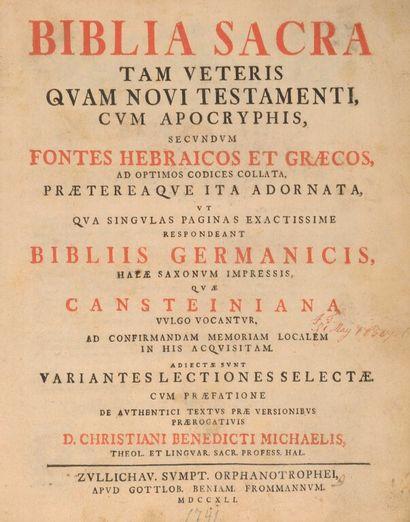 [Bible, hébreu, grec, 1741]. Biblia Sacra,...