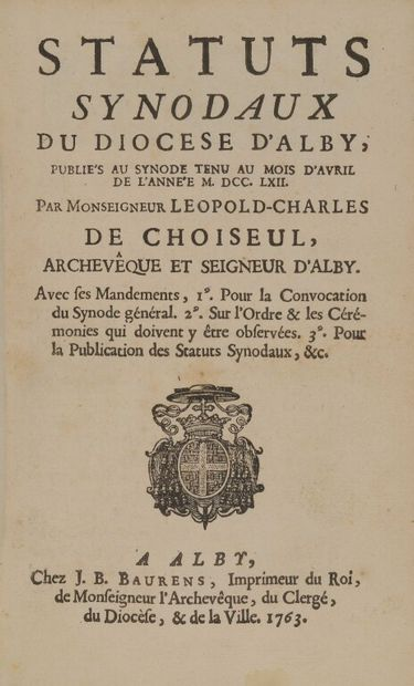 [CHOISEUL (Léopold-Charles), éd.]. Statuts...