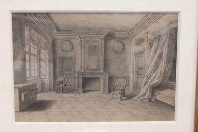 LUNI  Intérieur de chambre à coucher au XVIIIe...