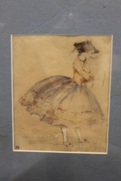 MICHAEL (?)  Jeune femme à la robe corbeille...