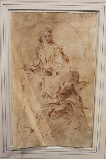 Ecole ESPAGNOLE ou ITALIENNE du XVIIIe siècle...