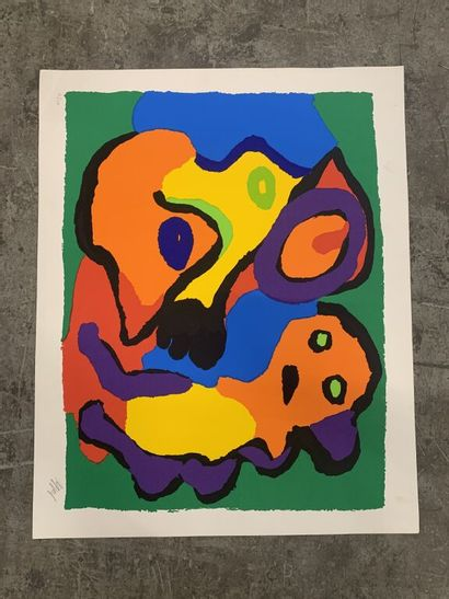 Karel APPEL (1921-2006)  Composition abstraite....