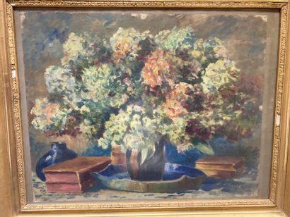 Ecole du XXe siècle  Bouquet d'hortensias...