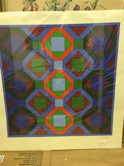 Victor VASARELY.  Composition géométrique...