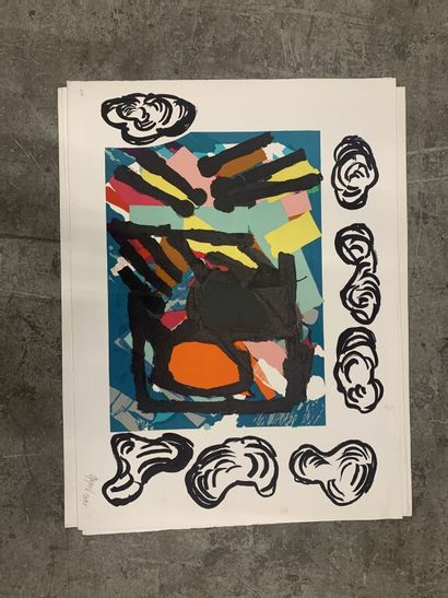 Karel APPEL (1921-2006)  Abstraction colorée....