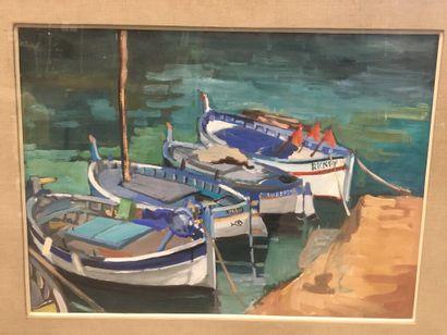 Robert DYENS (XXe)  Barques sur le port....