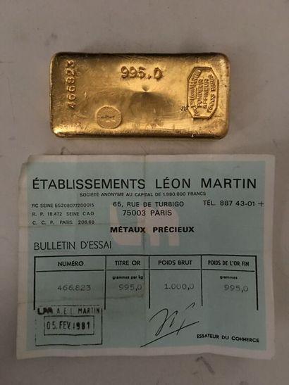 LINGOT D'OR n° 466823, Etablissements Léon...