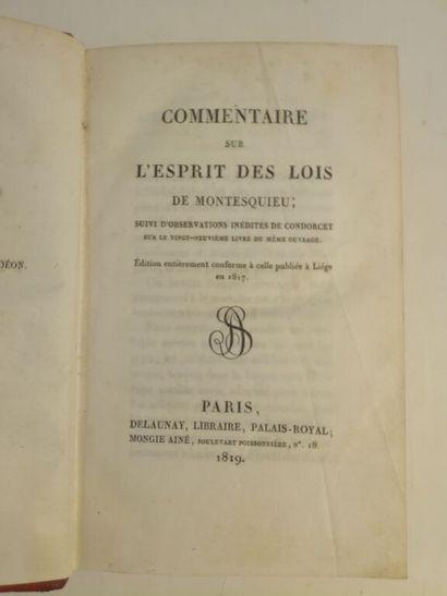 [DESTUTT DE TRACY (Antoine-Louis)]. Commentaire...