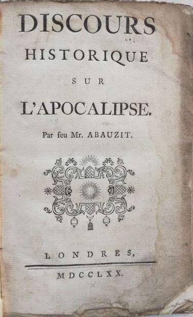 ABAUZIT (Firmin). Discours historique sur l'Apocalypse. Londres, s.n., 1770. In-8,...