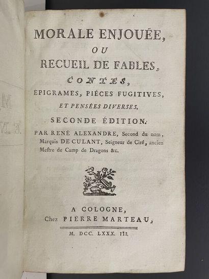 CULANT (René Alexandre de). Morale enjouée,...