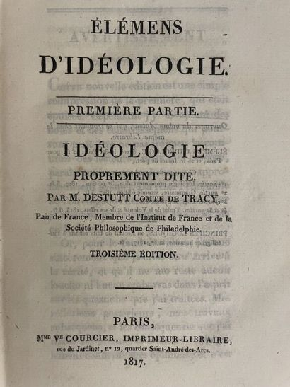 DESTUTT DE TRACY (Antoine Louis Claude)....