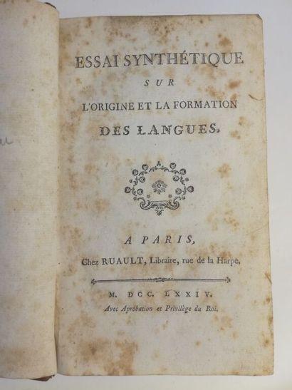 [COPINEAU (abbé)]. Essai synthétique sur l'origine et la formation des langues....