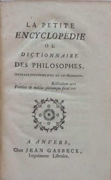 [Jansénisme]. [CHAUMEIX (Abraham Joseph de)]. La petite Encyclopédie, ou Dictionnaire...