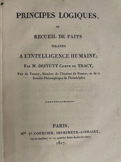 DESTUTT DE TRACY (Antoine Louis Claude). Elémens d'idéologie. I : Idéologie proprement...