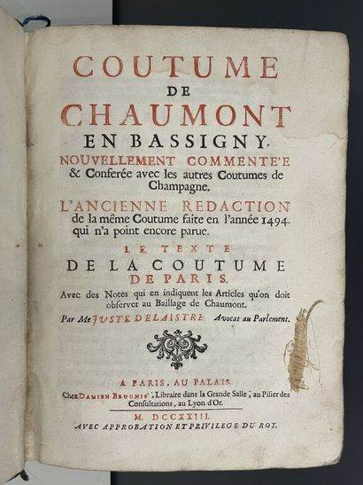 [Coutume. Chaumont (Haute-Marne). 1723]....
