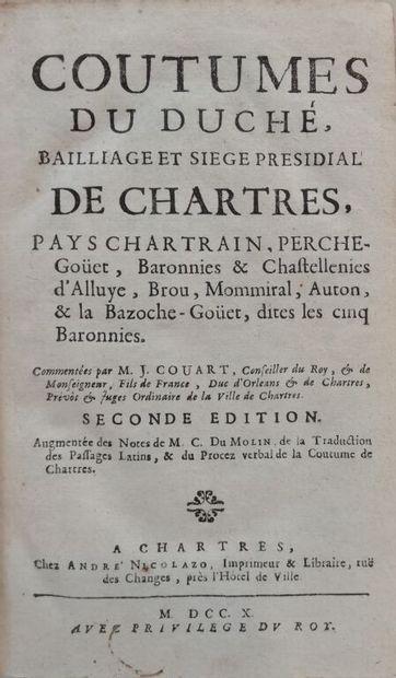 [Coutume. Chartres. 1710]. Coutumes du duché,...