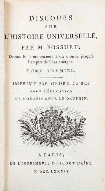 BOSSUET (Jacques Bénigne). Discours sur l'histoire universelle. A Paris, Didot l'Aîné,...