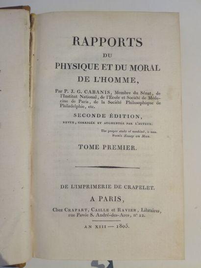 CABANIS (Pierre-Jean-Georges). Rapports du physique et du moral de l'homme. A Paris,...