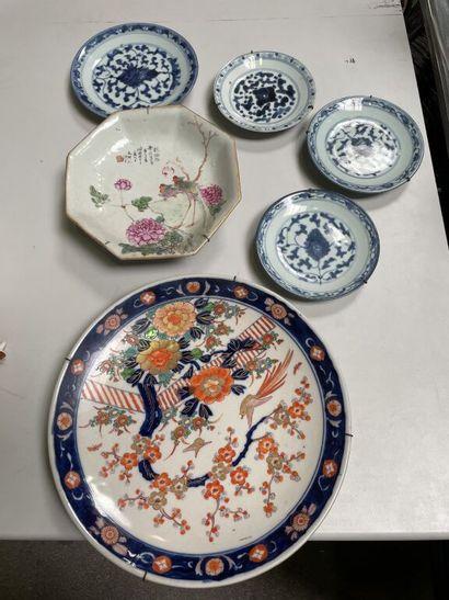 CHINE, XXe siècle  6 assiettes en porcelaine...