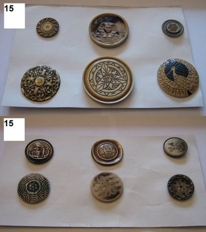 Série de 12 boutons en celluloid et bakélite....
