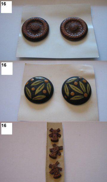 6 boutons dont 2 de Henri Hamm en bois sculpté...