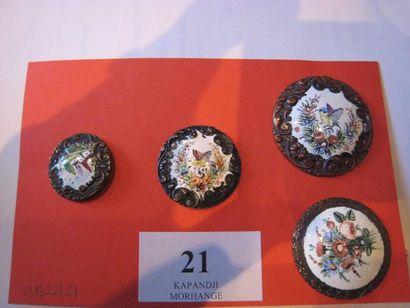 4 boutons en émail sur cuivre à décor d'oiseau,...