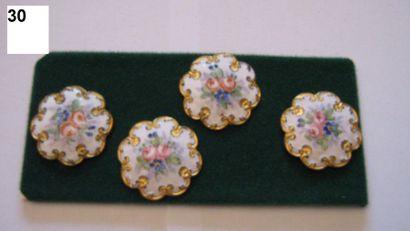 4 boutons en émail sur métal à décor floral,...