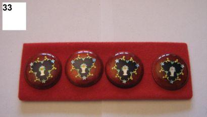 4 boutons assortis en émail transparent à...