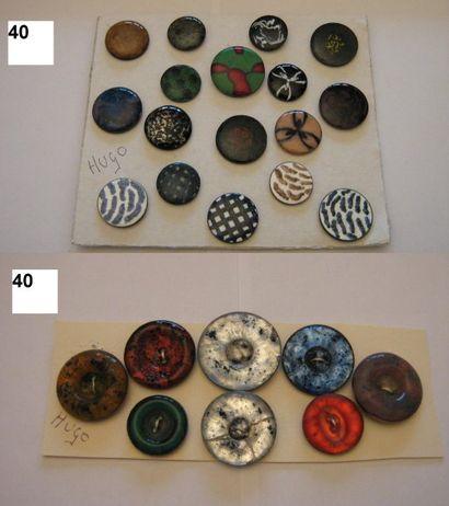 François HUGO. 1940-1950. 3 boutons gouttes...