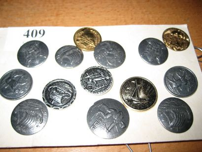 12 boutons en métal ULL Norvège. 20ème. (D....